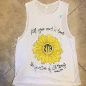 Tops - Zeta Tau Alpha T-shirt with sunflower.